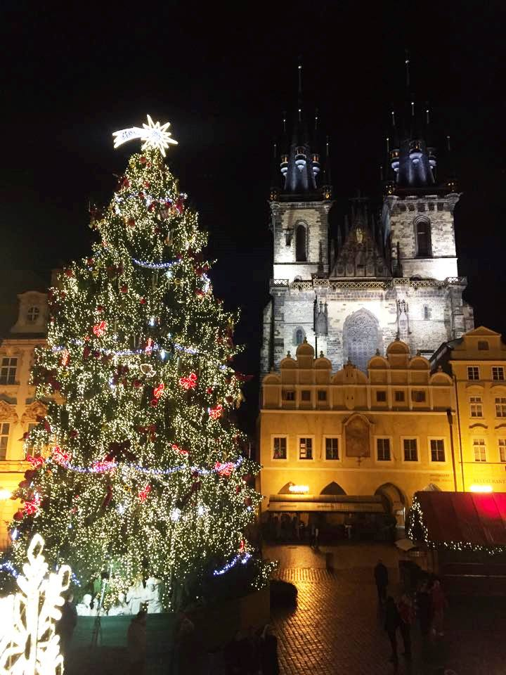 Chirstmas Tree and Church of Our Lady before Týn, Old Town Square in Prague