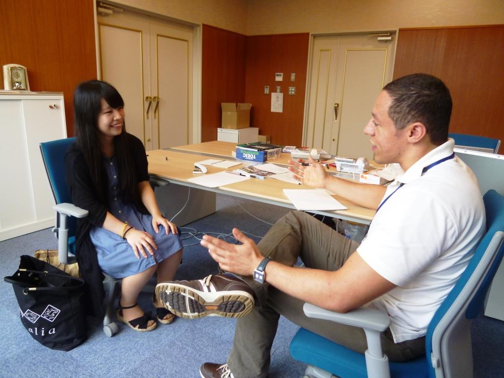 Talking with Assistant Prof. Rosenberg at his office